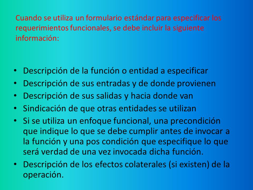 Descripción de la función o entidad a especificar