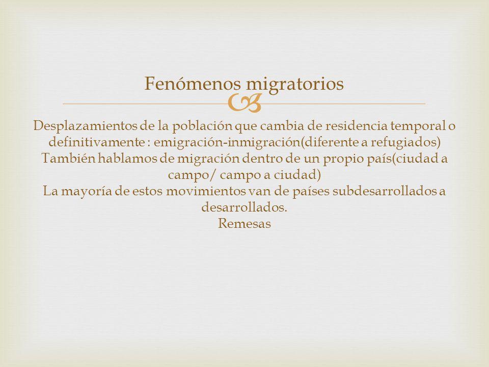 Fenómenos migratorios Desplazamientos de la población que cambia de residencia temporal o definitivamente : emigración-inmigración(diferente a refugiados) También hablamos de migración dentro de un propio país(ciudad a campo/ campo a ciudad) La mayoría de estos movimientos van de países subdesarrollados a desarrollados.