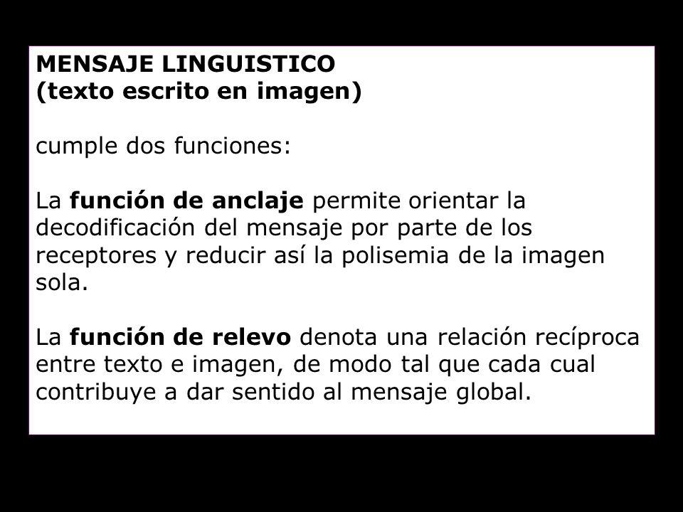 MENSAJE LINGUISTICO (texto escrito en imagen) cumple dos funciones: