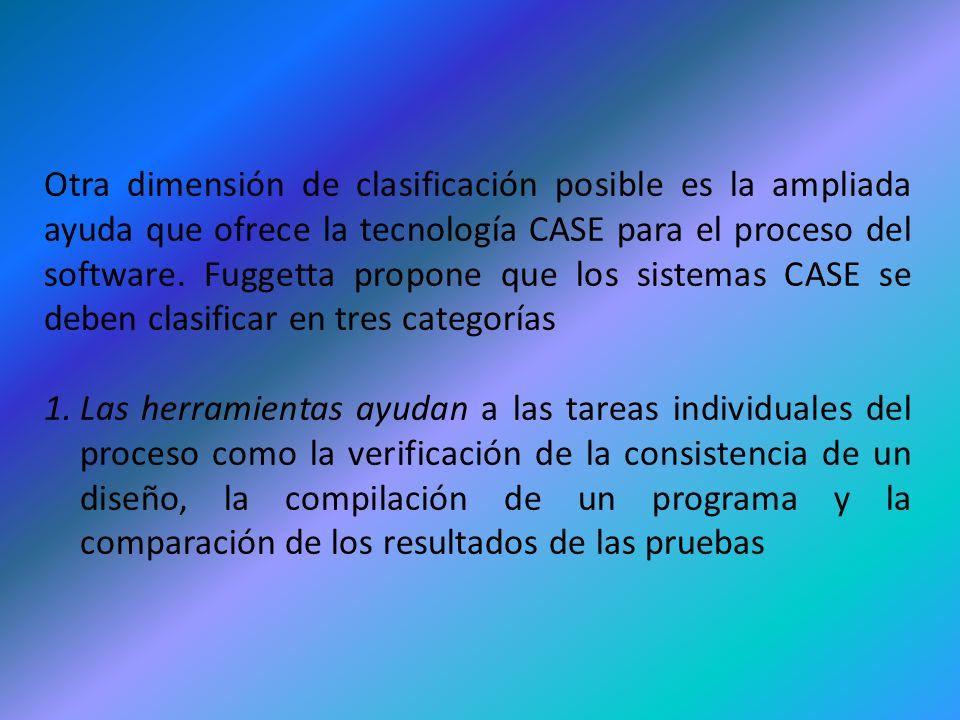 Otra dimensión de clasificación posible es la ampliada ayuda que ofrece la tecnología CASE para el proceso del software. Fuggetta propone que los sistemas CASE se deben clasificar en tres categorías
