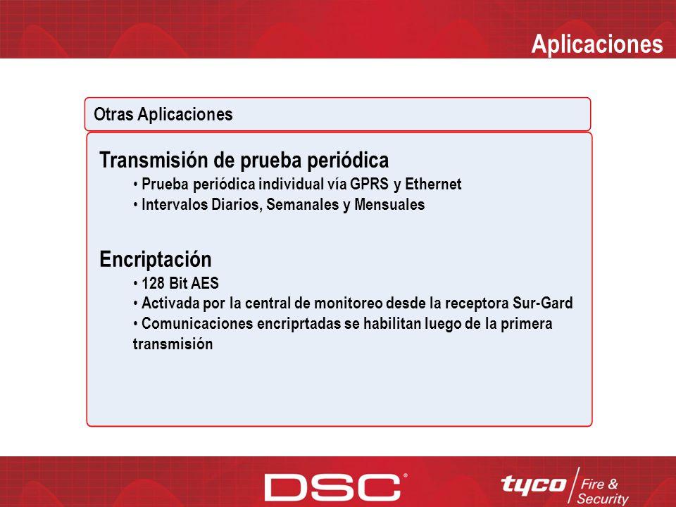 Aplicaciones Transmisión de prueba periódica Encriptación