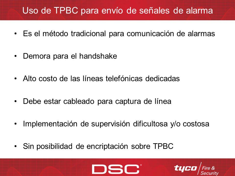Uso de TPBC para envío de señales de alarma