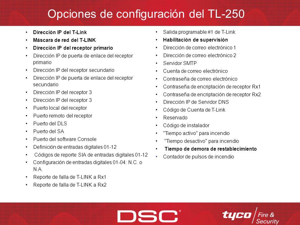 Opciones de configuración del TL-250