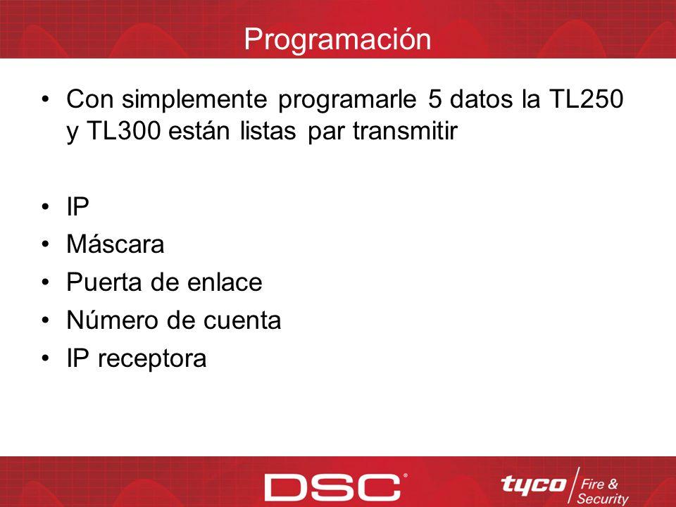 Programación Con simplemente programarle 5 datos la TL250 y TL300 están listas par transmitir. IP.