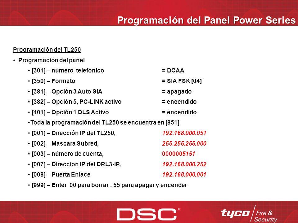 Programación del Panel Power Series