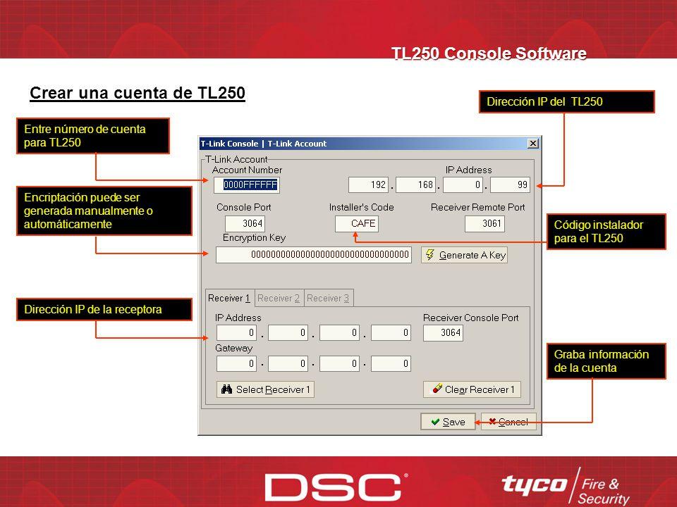 TL250 Console Software Crear una cuenta de TL250
