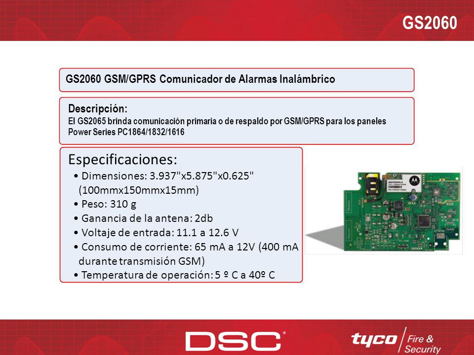 GS2060 GS2060 GSM/GPRS Comunicador de Alarmas Inalámbrico. Descripción: