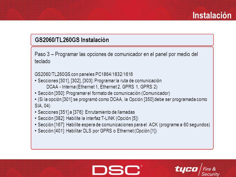Instalación GS2060/TL260GS Instalación