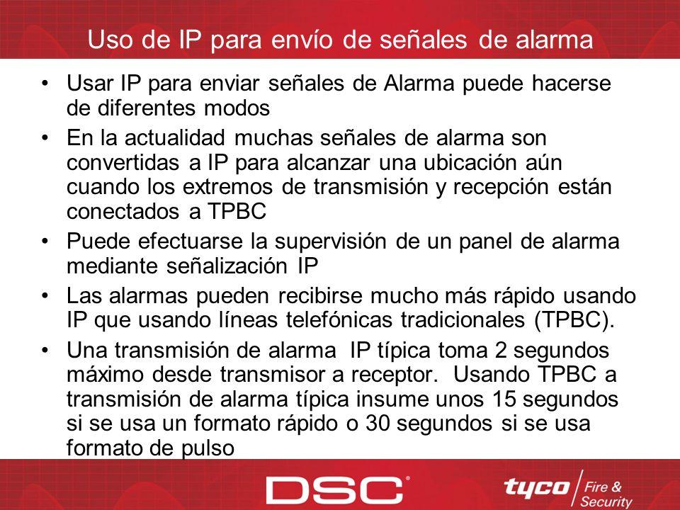 Uso de IP para envío de señales de alarma