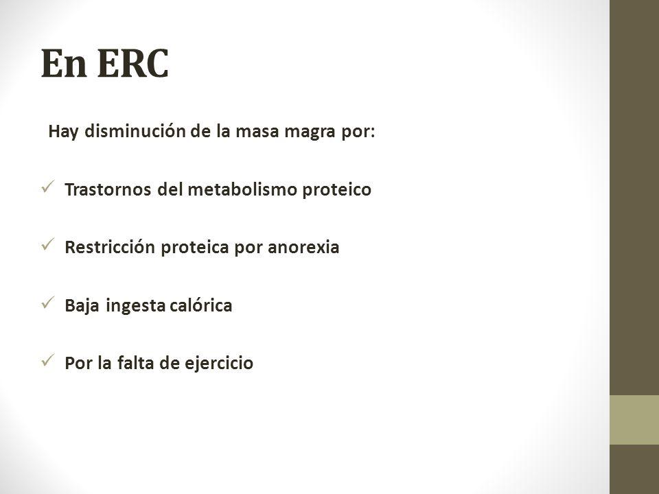 En ERC Hay disminución de la masa magra por: