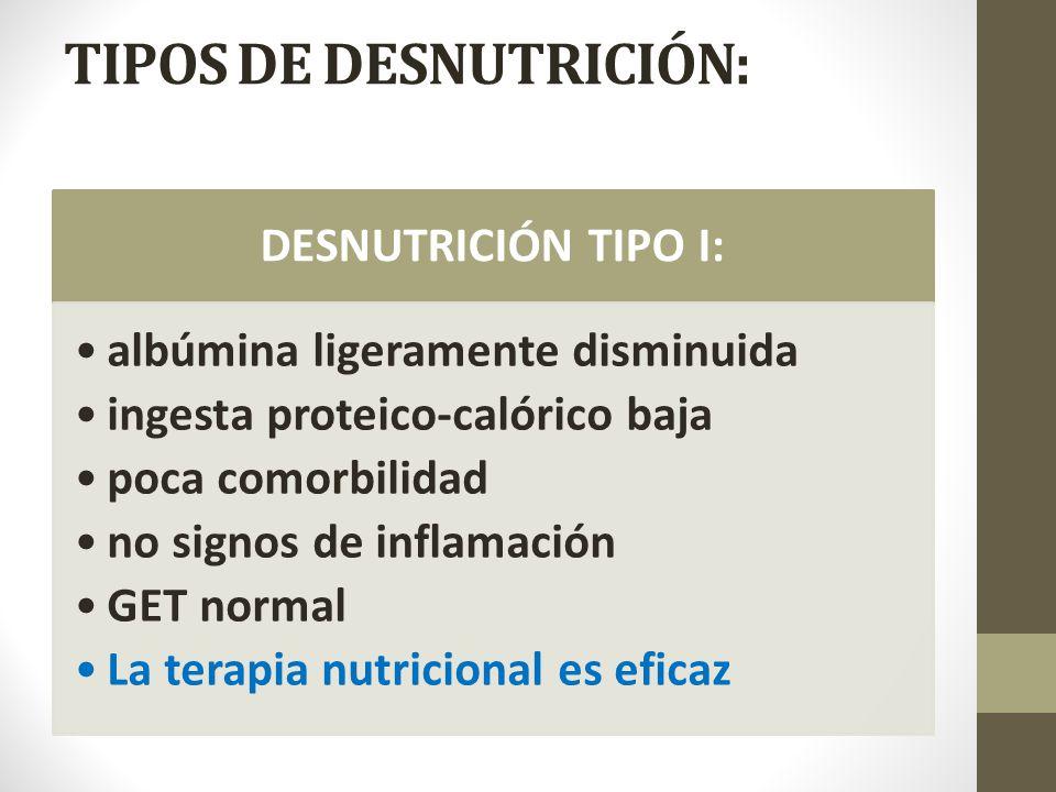 TIPOS DE DESNUTRICIÓN: