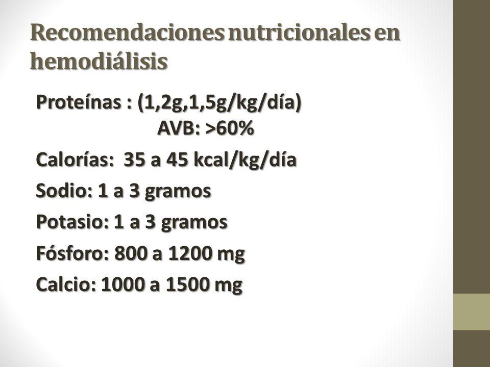 Recomendaciones nutricionales en hemodiálisis