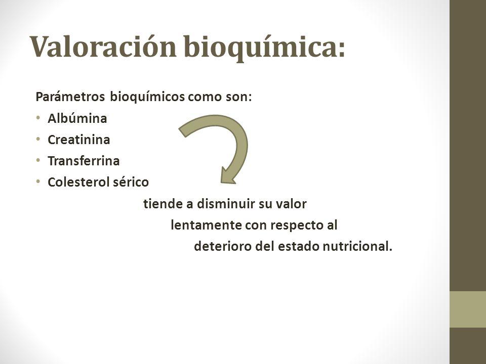 Valoración bioquímica: