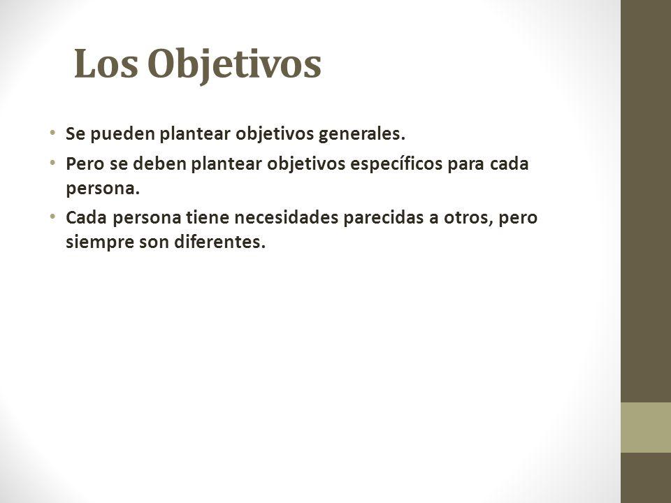 Los Objetivos Se pueden plantear objetivos generales.