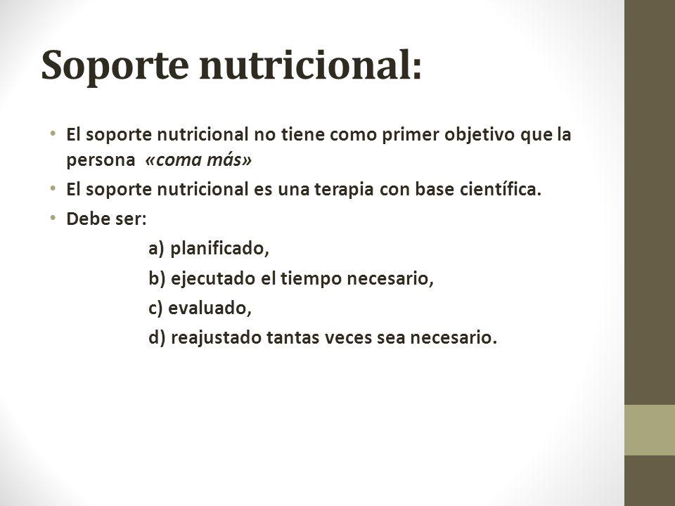 Soporte nutricional: El soporte nutricional no tiene como primer objetivo que la persona «coma más»