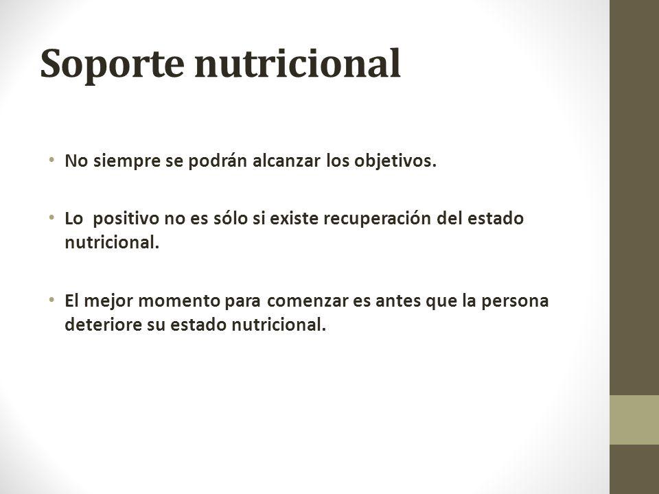 Soporte nutricional No siempre se podrán alcanzar los objetivos.