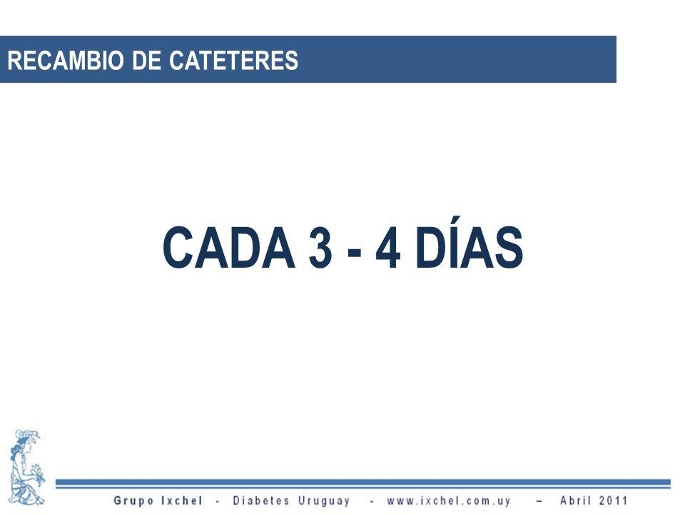 RECAMBIO DE CATETERES CADA 3 - 4 DÍAS