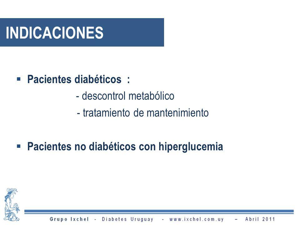 INDICACIONES Pacientes diabéticos : - descontrol metabólico