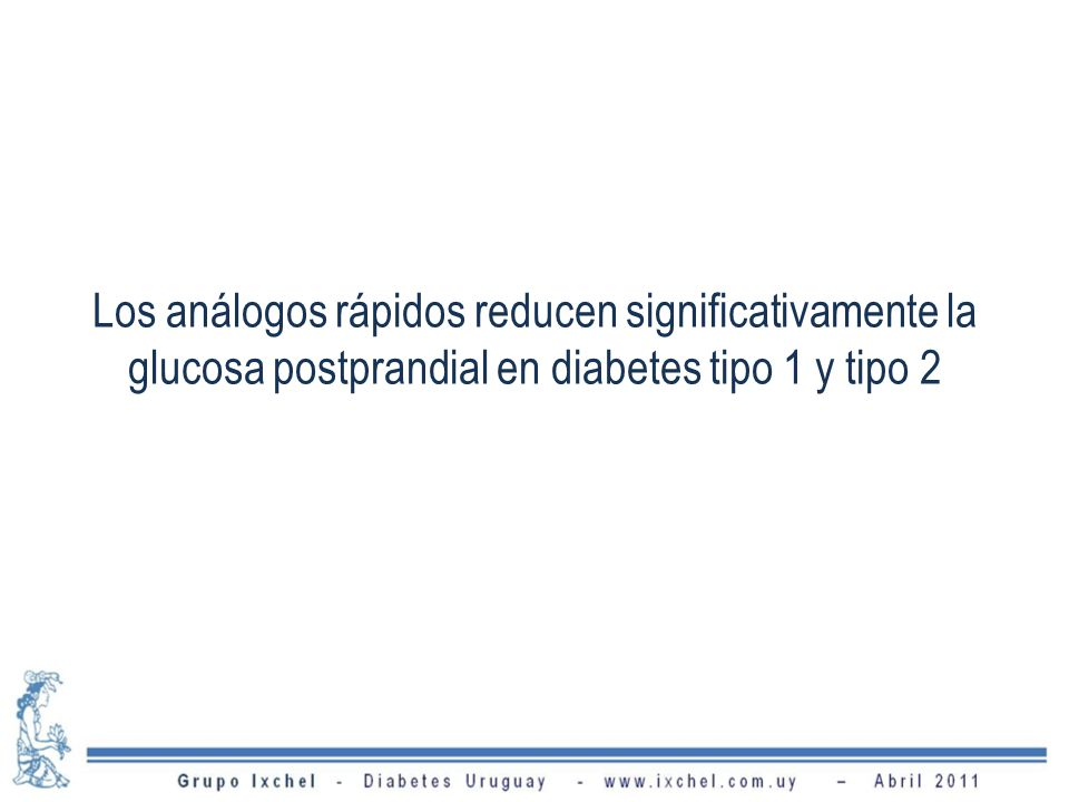Los análogos rápidos reducen significativamente la glucosa postprandial en diabetes tipo 1 y tipo 2