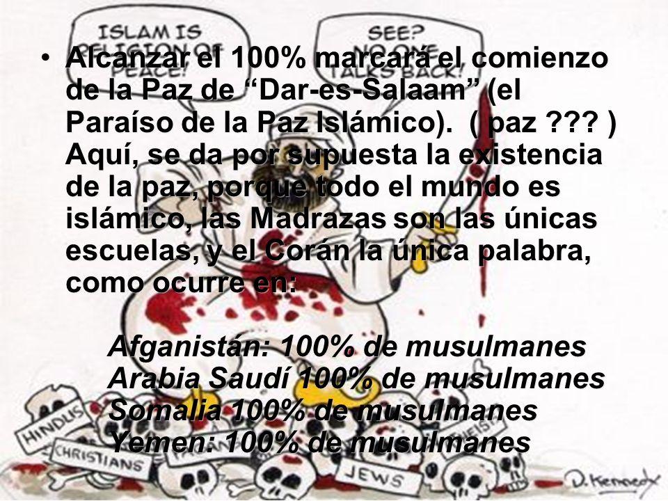 Alcanzar el 100% marcará el comienzo de la Paz de Dar-es-Salaam (el Paraíso de la Paz Islámico). ( paz .