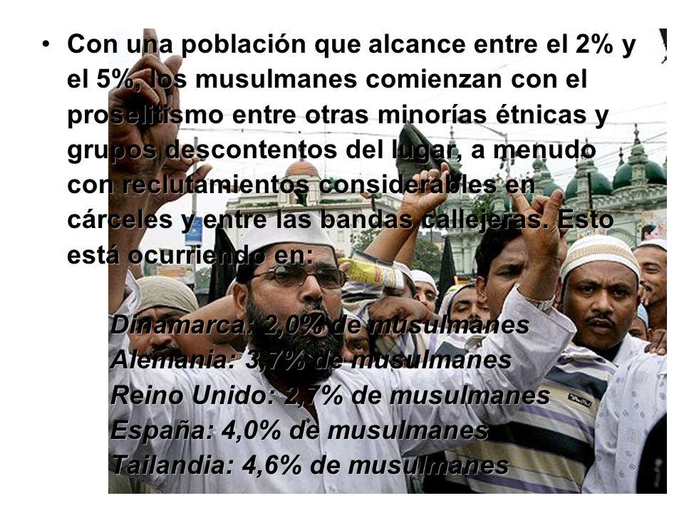 Con una población que alcance entre el 2% y el 5%, los musulmanes comienzan con el proselitismo entre otras minorías étnicas y grupos descontentos del lugar, a menudo con reclutamientos considerables en cárceles y entre las bandas callejeras.