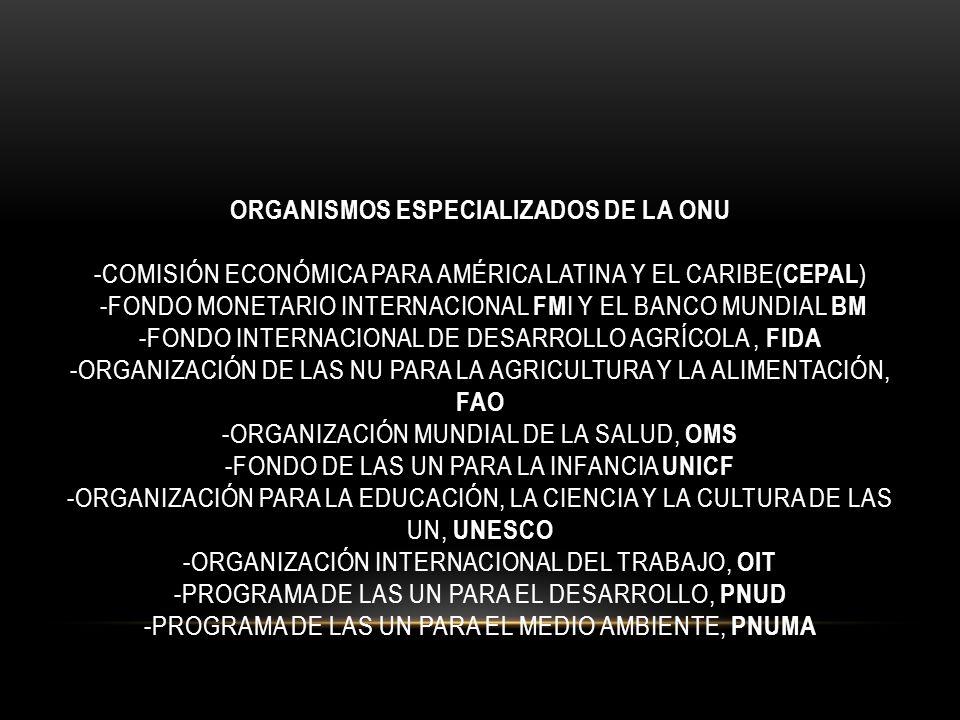 Organismos especializados de la ONU -Comisión Económica para América Latina y el Caribe(CEPAL) -Fondo Monetario Internacional FMI y el Banco Mundial BM -Fondo Internacional de Desarrollo Agrícola , FIDA -Organización de las NU para la Agricultura y la Alimentación, FAO -Organización Mundial de la Salud, OMS -Fondo de las UN para la infancia UNICF -Organización para la Educación, la Ciencia y la Cultura de las UN, UNESCO -Organización Internacional del Trabajo, OIT -Programa de las UN para el Desarrollo, PNUD -Programa de las UN para el Medio Ambiente, PNUMA