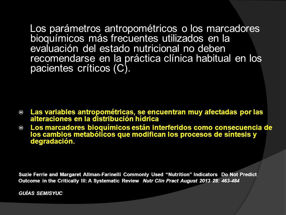 Los parámetros antropométricos o los marcadores bioquímicos más frecuentes utilizados en la evaluación del estado nutricional no deben recomendarse en la práctica clínica habitual en los pacientes críticos (C).