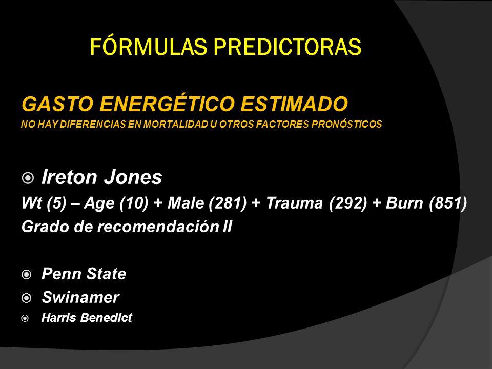 FÓRMULAS PREDICTORAS GASTO ENERGÉTICO ESTIMADO Ireton Jones
