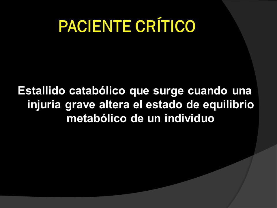 PACIENTE CRÍTICO Estallido catabólico que surge cuando una injuria grave altera el estado de equilibrio metabólico de un individuo.