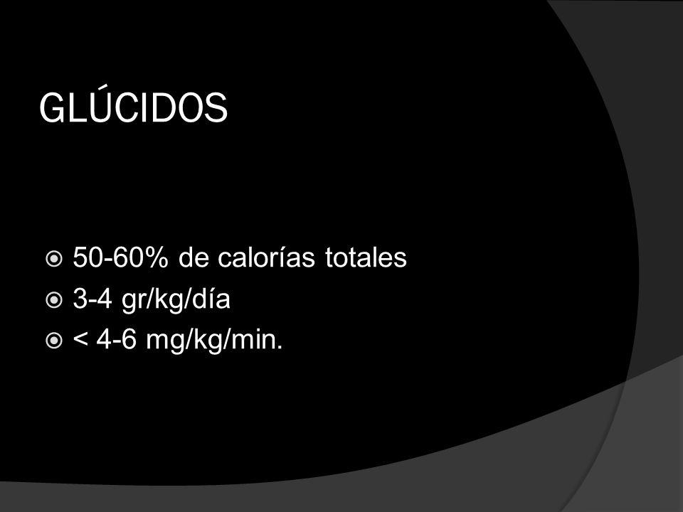 GLÚCIDOS 50-60% de calorías totales 3-4 gr/kg/día < 4-6 mg/kg/min.
