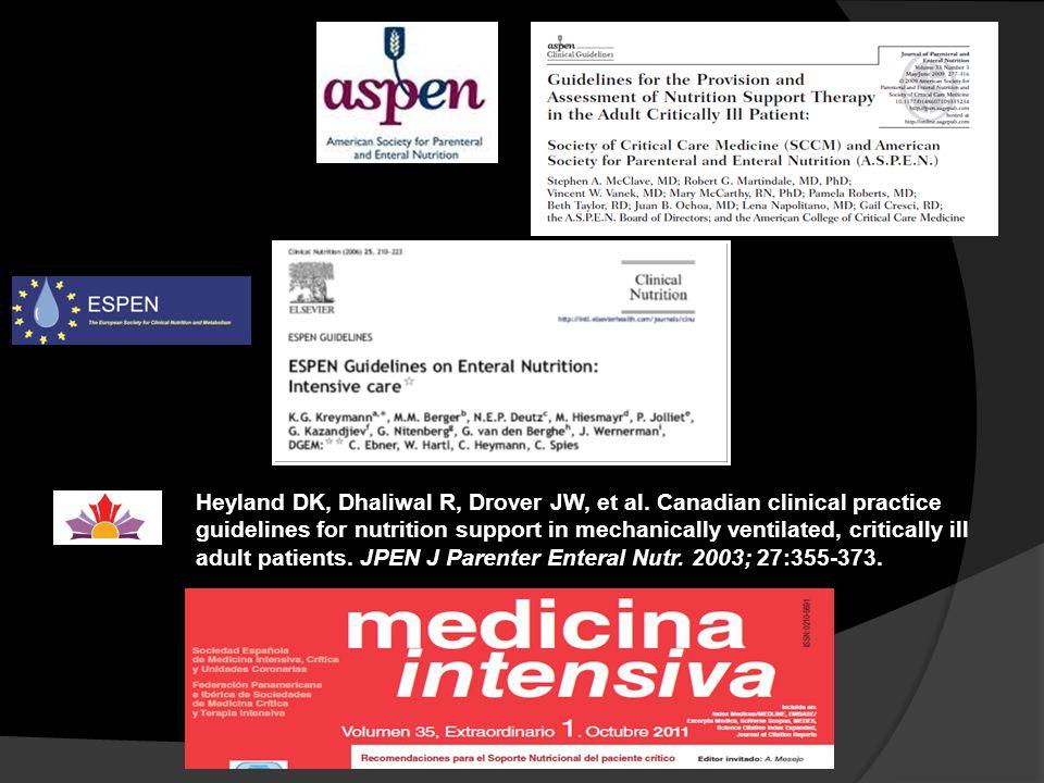 Heyland DK, Dhaliwal R, Drover JW, et al. Canadian clinical practice