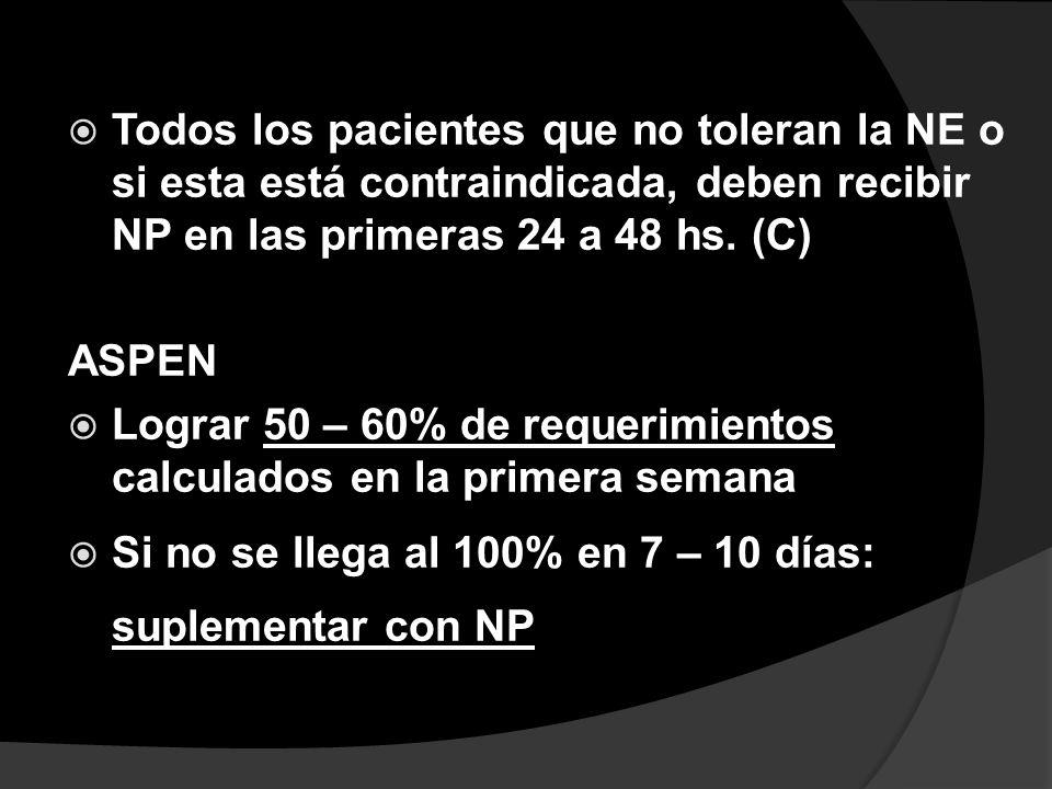 Todos los pacientes que no toleran la NE o si esta está contraindicada, deben recibir NP en las primeras 24 a 48 hs. (C)