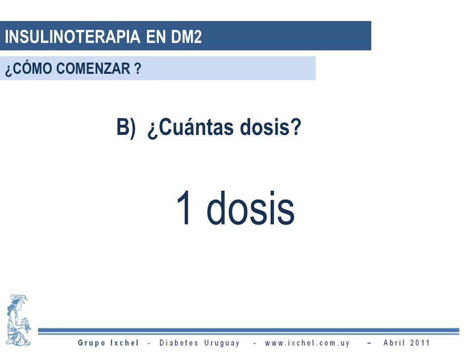 INSULINOTERAPIA EN DM2 ¿CÓMO COMENZAR B) ¿Cuántas dosis 1 dosis