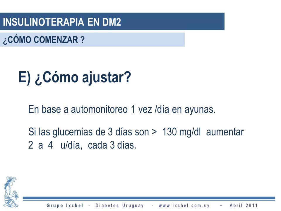 E) ¿Cómo ajustar INSULINOTERAPIA EN DM2