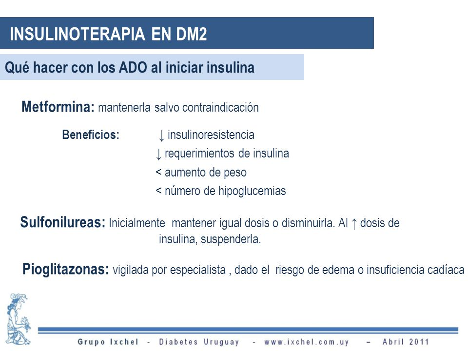 Qué hacer con los ADO al iniciar insulina