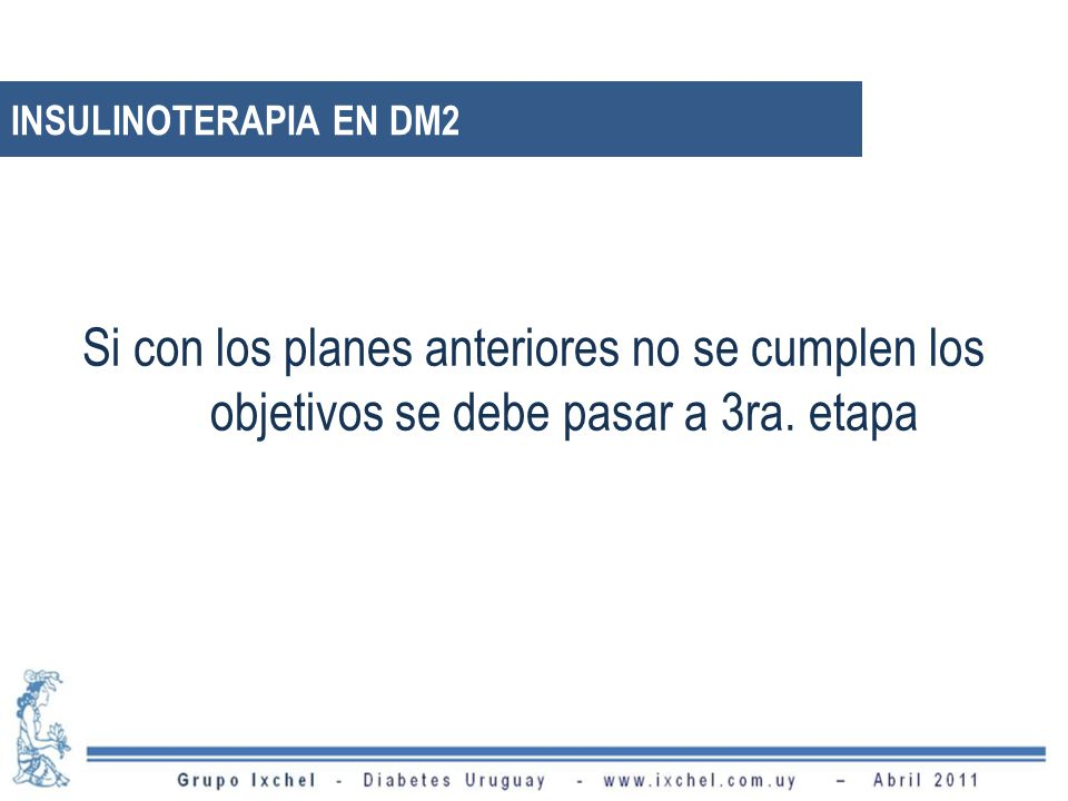 INSULINOTERAPIA EN DM2 Si con los planes anteriores no se cumplen los objetivos se debe pasar a 3ra.