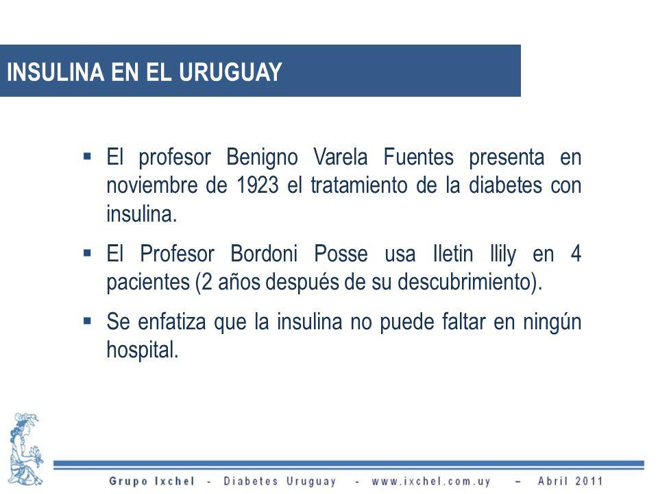 INSULINA EN EL URUGUAY El profesor Benigno Varela Fuentes presenta en noviembre de 1923 el tratamiento de la diabetes con insulina.