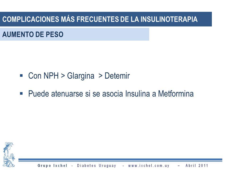 Con NPH > Glargina > Detemir