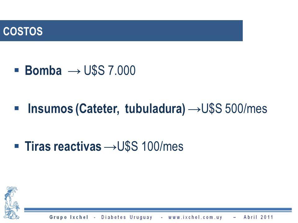 Insumos (Cateter, tubuladura) →U$S 500/mes