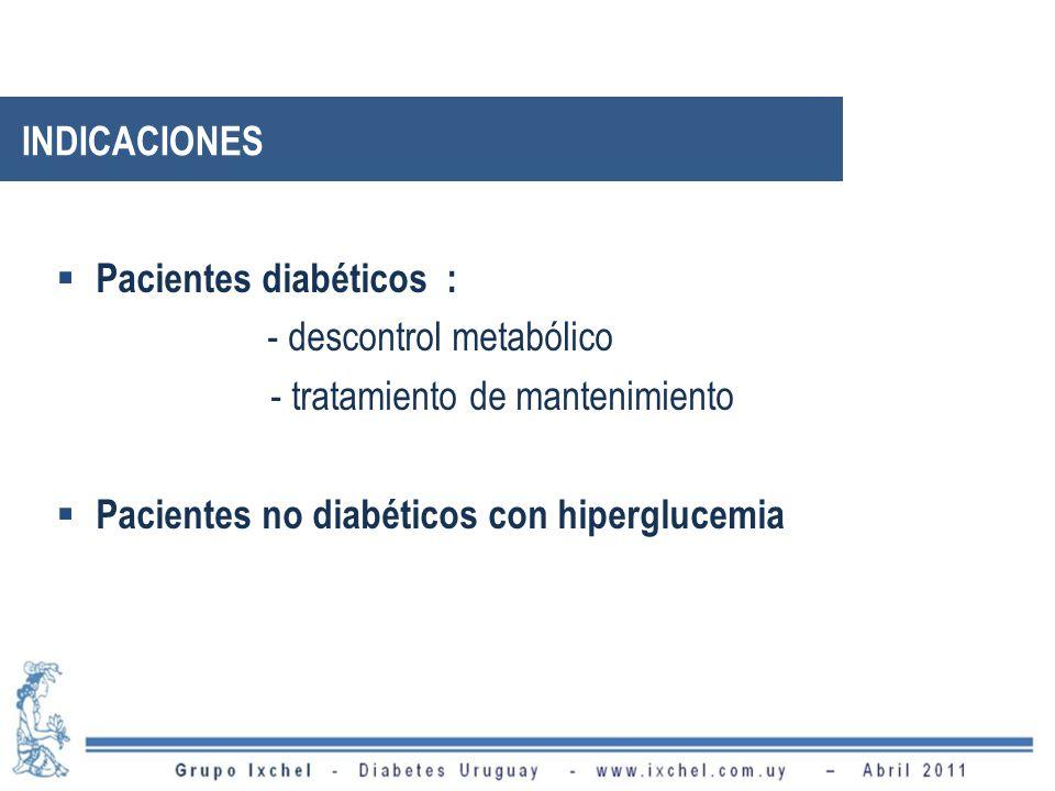 INDICACIONES Pacientes diabéticos : - descontrol metabólico.