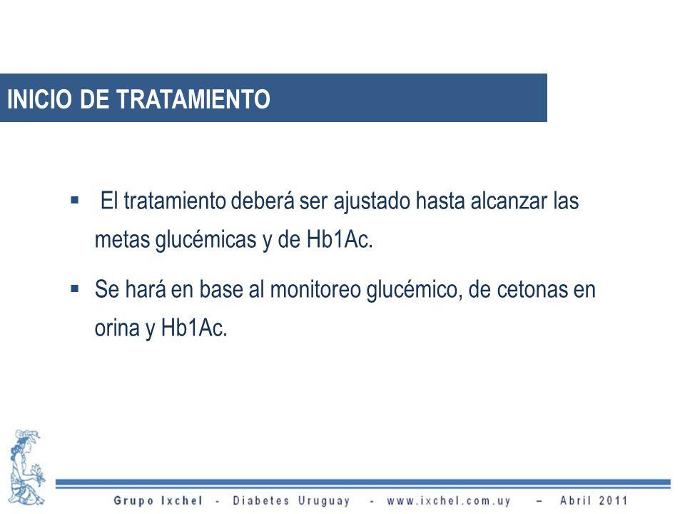 INICIO DE TRATAMIENTO El tratamiento deberá ser ajustado hasta alcanzar las metas glucémicas y de Hb1Ac.