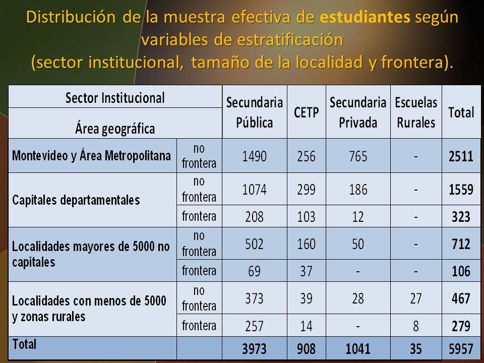 (sector institucional, tamaño de la localidad y frontera).