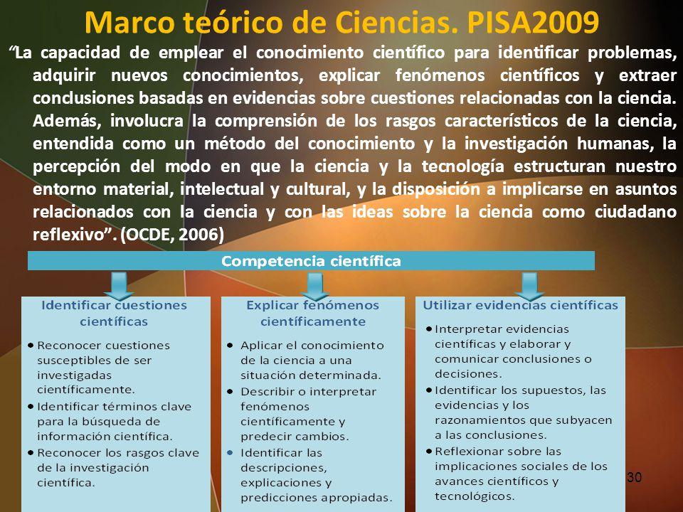 Marco teórico de Ciencias. PISA2009