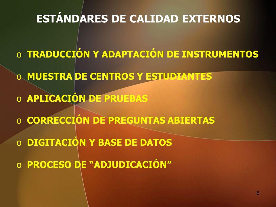 ESTÁNDARES DE CALIDAD EXTERNOS