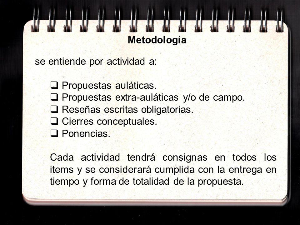 Metodología se entiende por actividad a: Propuestas auláticas. Propuestas extra-auláticas y/o de campo.
