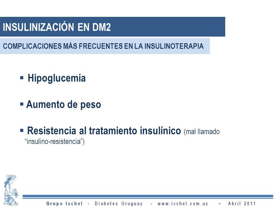 INSULINIZACIÓN EN DM2 Hipoglucemia Aumento de peso
