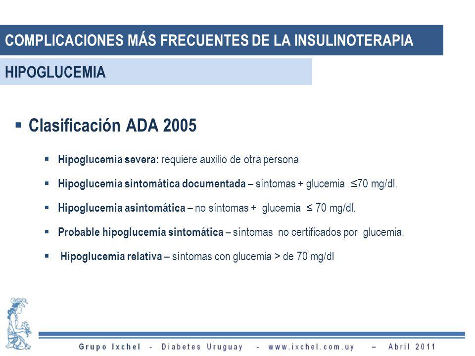 COMPLICACIONES MÁS FRECUENTES DE LA INSULINOTERAPIA