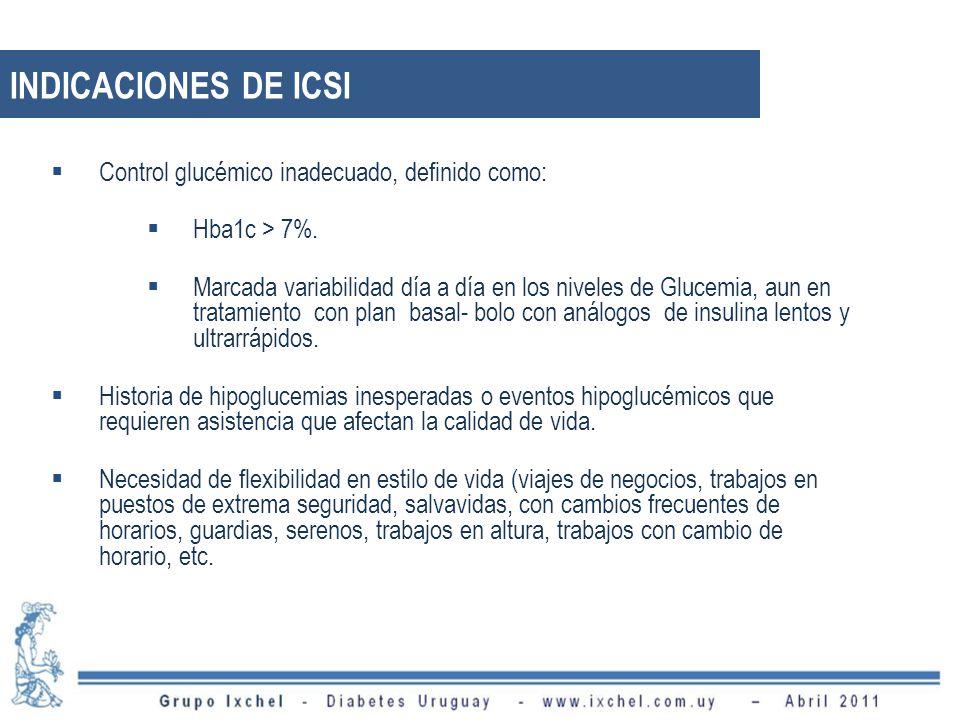 INDICACIONES DE ICSI Control glucémico inadecuado, definido como: