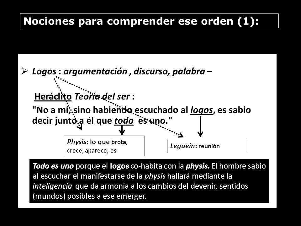 Nociones para comprender ese orden (1):
