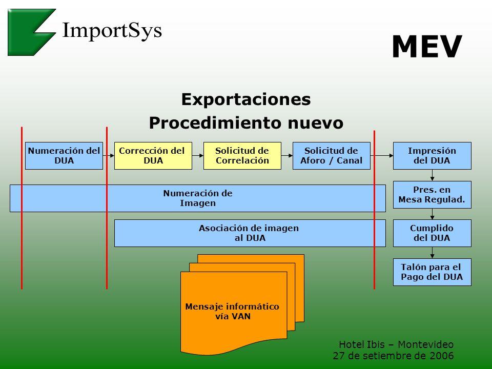 MEV Exportaciones Procedimiento nuevo Hotel Ibis – Montevideo